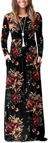 VIISHOW Women s Long Sleeve Floral Dress Loose Plain Maxi Dresses Casual Long Dresses with Pockets product image
