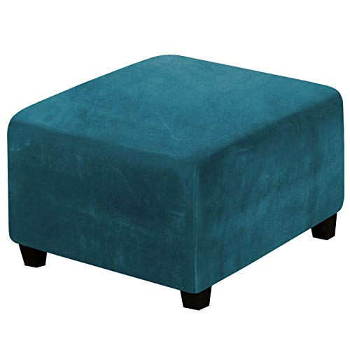 Square Ottoman Covers Ottoman Slipcover Square Footstool Protector Covers Storage Stool Ottoman Covers Stretch with Elastic Bottom, Feature Real Velvet Plush Fabric, Deep Teal