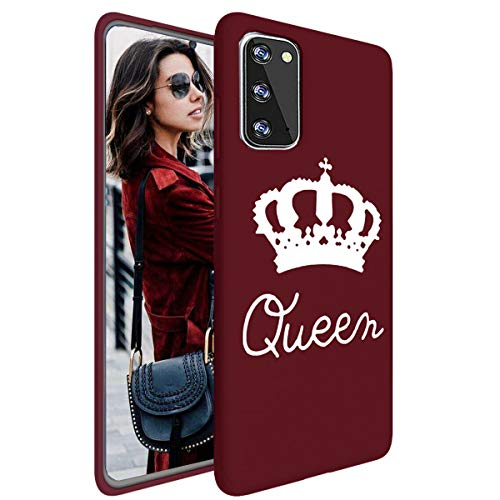Topwin Galaxy S20 Plus 6.7'' Soft TPU Case, Cute Queen Crown Pattern Ultra Slim Couple Case for Lovers Flexible Light Weight TPU Protective for Samsung Galaxy S20 Plus 6.7'' 2020 (Wine Red)