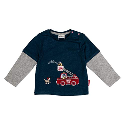 Salt & Pepper Baby-Jungen Ready for Action Fire 2in1 Langarmshirt, Blau (Dark Blue Melange 492), (Herstellergröße: 74)