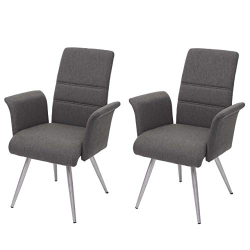 Mendler 2X Esszimmerstuhl HWC-G55, Küchenstuhl Stuhl mit Armlehne, Stoff/Textil Edelstahl gebürstet ~ grau