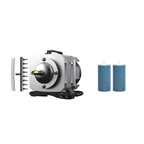 VIVOHOME 50W 1110GPH 8 Outlets Electromagnetic Commercial Air Pump & 2 Pack Cylinder Air Stones Diffuser for Aquarium Fish Tank Hydroponics Pump