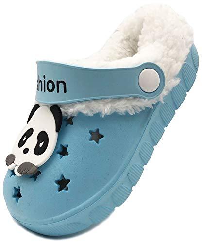 Vorgelen Niños Invierno Zuecos Pelusa Forro Pantuflas Niña Cálido Antideslizante Mules Suave Ligeras Zapatos de Jardín Interiores y Exteriores Primeros Zapatos para Niños18.5-32 EU