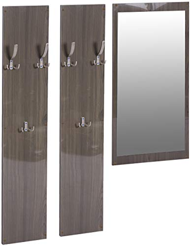 ts-ideen 3er Set Garderobe Spiegel + 2 Wandpaneele Kleiderhaken Holz Hochglanz Grau