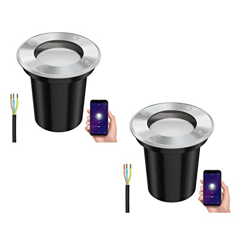 ledscom.de Inteligente luz empotrada BOLI, exterior de acero inoxidable redondo IP67 108mm Ø + 4W LED lámpara Alexa regulable 380lm blanco cálido, 2pcs.