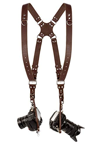Camera Strap Accessories for Two-Cameras – Dual Shoulder Leather Harness – Multi Camera Gear for DSLR/SLR ProInStyle Strap By Coiro