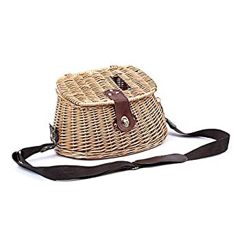 LANOA Wicker Basket Fishing Creel Trout Perch Cage Tackle Fisherman Box Outdoor Classical Willow Trout Fishing Creel Basket