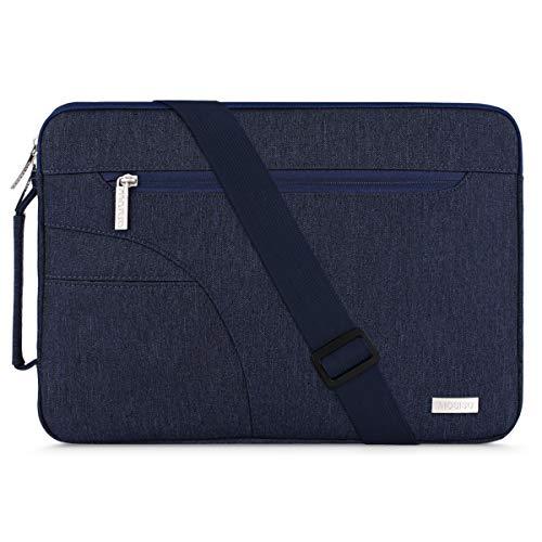 MOSISO Laptop Spalla Borsa con Tasca Laterale Compatibile con 13-13,3 Pollici MacBook PRO,MacBook Air,Notebook,Poliestere Custodia Protettiva,Blu Navy