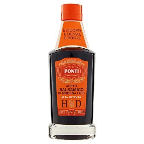 Ponti Aceto Balsamico di Modena g.g.A. High Density 1 x 250 ml – typisch italienischer Balsamessig – feinster Balsamico Essig – 2 Monate in Fässern gereift
