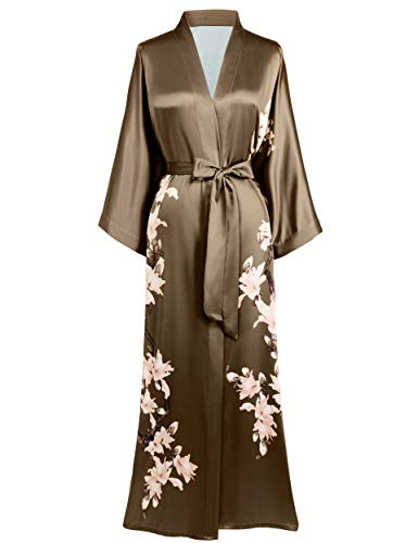 BABEYOND Damen Morgenmantel Kimono Blumen Zweig Gedruckt Maxi Lang Damen Bademantel Birnenblumen Strandjacke Braut Junggesellinnenabschied Party Schlafmantel(Kaffee)