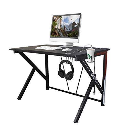 COZUHAUSE KShaped Computer Gaming Desk 457quot Black Carbonized Pattern with USB Charging PortHeadphone Hook and Cup Holder Gaming Table Workstation 457quot GD