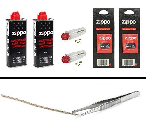 Zippo Zubehör Set 6: 2X Benzin, 2x6 Feuersteine, 2X Docht + Pinzette