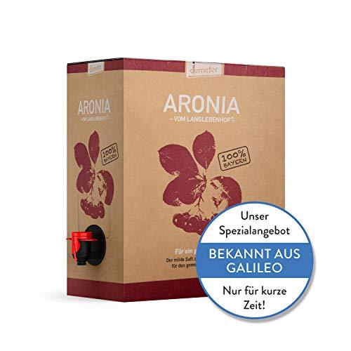 Aronia Saft Bio - Demeter - Vom Langlebenhof 'Der Milde' - 3 Liter Box - 100% Direktsaft - Aronia...