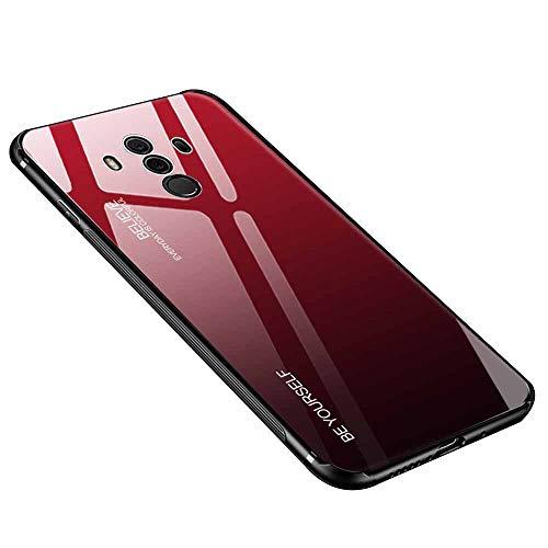 Hülle für Huawei Mate 10 Pro, Gehärtetes Glas Zurück mit Weichem TPU Silikon Rahmen Handyhülle Farbverlauf Farbe Case Schutzhülle für Huawei Mate 10 Pro (Rot-Schwarz)
