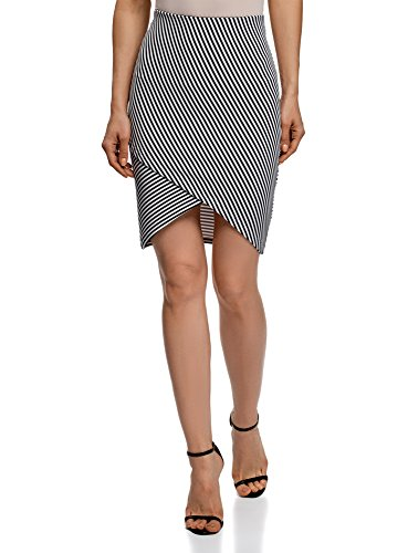 oodji Ultra Mujer Falda de Punto con Parte Inferior Asimétrica, Blanco, ES 42 / L