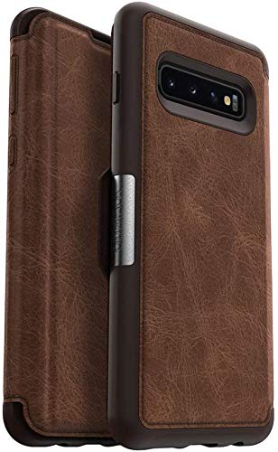 OtterBox Strada Series Schutzhülle für Galaxy S10+, ohne Einzelhandelsverpackung, Espresso (dunkelbraun/braunes Leder)