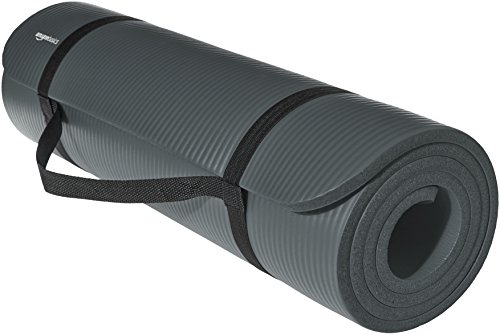 AmazonBasics Extra Thick Exercise Yoga Gym Floor Mat with Carrying Strap - 74 x 24 x .5 Inches, Grey