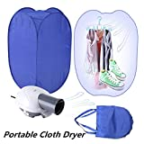Dryer Machine for Clothes Portable Laundry Dryer Machine Electric Folding Fast Clothing Dryer Heater 800W with Rack for Home Laundry Dorm Blue