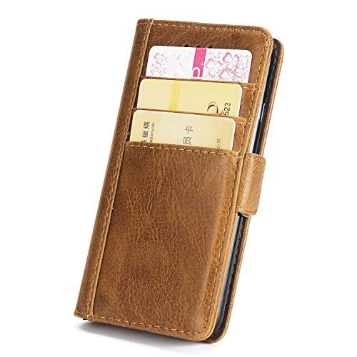 DENDICO Coque iPhone 7 Plus/iPhone 8 Plus, Premium Flip Housse Portefeuille Magnétique en Cuir avec Logements de Carte pour Apple iPhone 7 Plus/iPhone 8 Plus - Marron Clair