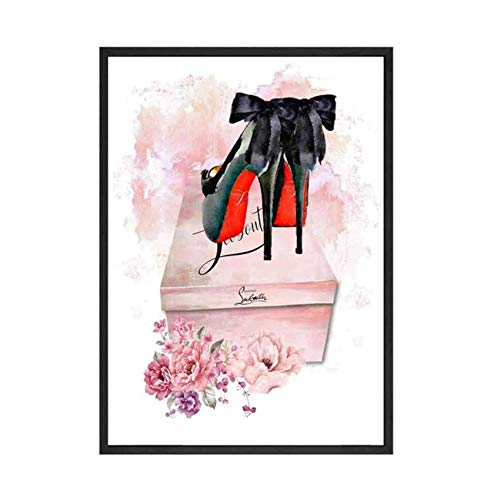 Arte de la pared Pintura de la lona Libro de moda Chica París Lápiz labial Zapatos Chica Carteles e impresiones nórdicos Cuadros de pared para la decoración del dormitorio 60x90cm sin marco