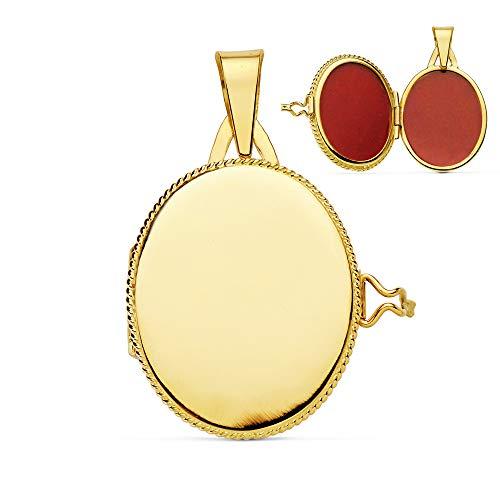 Ciondolo da donna portafoto liscio ovale 22 x 19 mm oro 18 kt