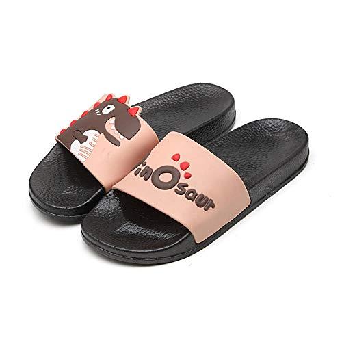 TDYSDYN Zapatillas sin Cordones para Mujer/Hombre,Zapatillas de baño Antideslizantes, Use Sandalias y Pantuflas de Suela Gruesa-Caqui Negro_44-45