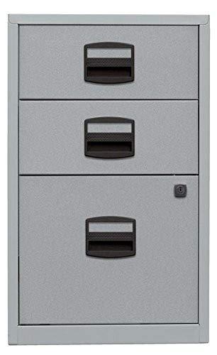 Bisley Home Beistellschrank PFA, 2 Universalschubladen, 1 HR-Schublade, Metall, 355 Silber, 40 x 41.3 x 67.2 cm