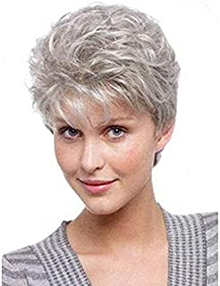 NiceToBuy Synthetic Wigs Short Fluffy Curly Wavy Hair Natural Grey Wigs With Bangs for Older Women With Wig Cap