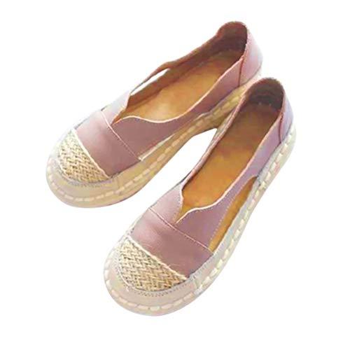 Minetom Damen Espadrilles Sandalen Flache Sommer Frauen Slip On Walking Mokassin Loafers Schuhe Mit Strohsohle B Rosa 38 EU
