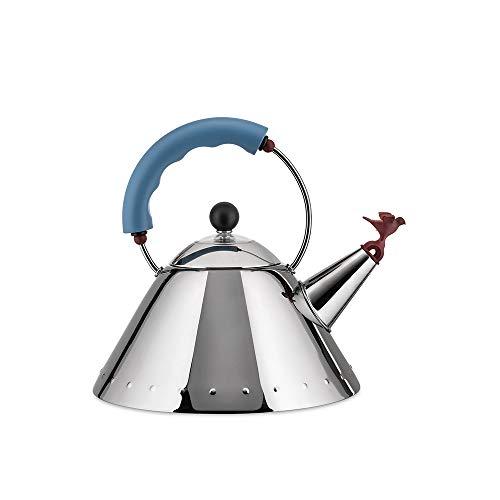 Alessi 9093 - Hervidor de Acero Inoxidable Brillo 18/10 (Base magnetica, diseno de pajaro en la Boquilla), Color Azul