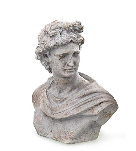 linoows Büste Adonis Mythologie Büste, Antiken Skulptur aus Beton Gartenskulptur 21 cm