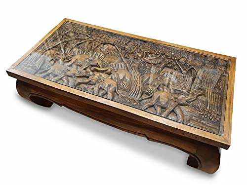 Opium PANTIP III - Mesa de centro para salón con elefantes tallados - Mesa de sofá con tablero de cristal