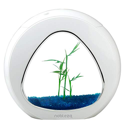 Nobleza - Nano Fischtank-Aquarium mit integrierten LED-Leuchten & Wasserpumpe, Tropische Aquarien, 4 Liter, weiß