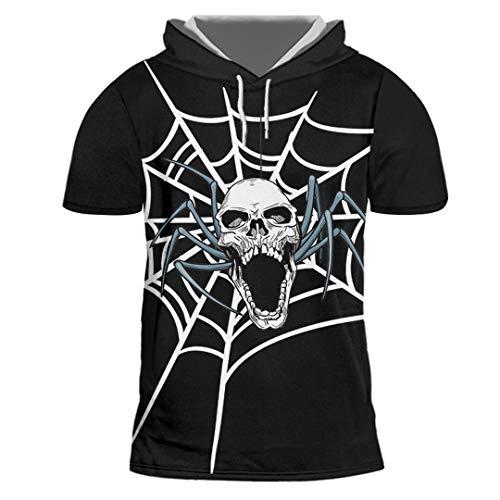 Das Spinnennetz und die Schädel der gedruckten Männer Trend lässiges Hip-Hop-Halloween-T-Shirt Spider Web Skulls XXL