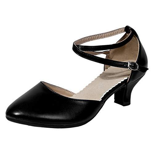 Charakterschuhe Damen Latein Salsa Rumba Trachten Tango Tanz Schuhe Elegante Pumps Mittelhohe Riemchen Geschlossen Knöchelriemen Weicher Boden Celucke (Schwarz, EU38)