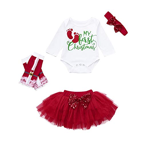Jimmackey- Bambina 4pcs Neonata Natale Completini, Bebè Impronte Stampa Pagliaccetto Tutine Body + Tulle Tutu Gonna Pantacollant