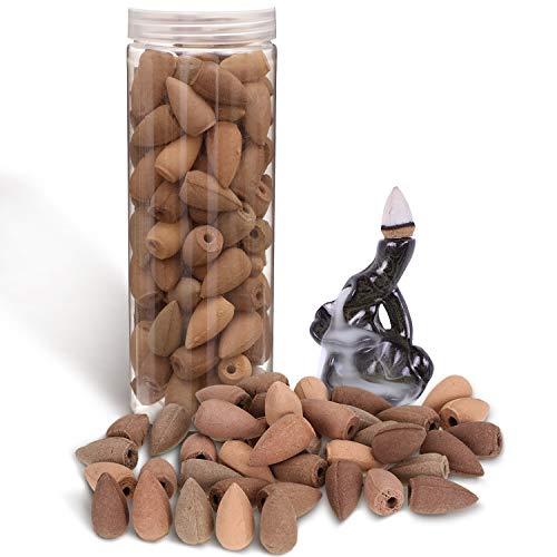 El paquete incluye: recibirá 1 botella de conos de incienso de reflujo (100 piezas de la botella, 5 tipos de olores, 20 piezas por olor) y un mini quemador de incienso con flujo de retorno de forma de loto Introducción del producto: el cono de incien...