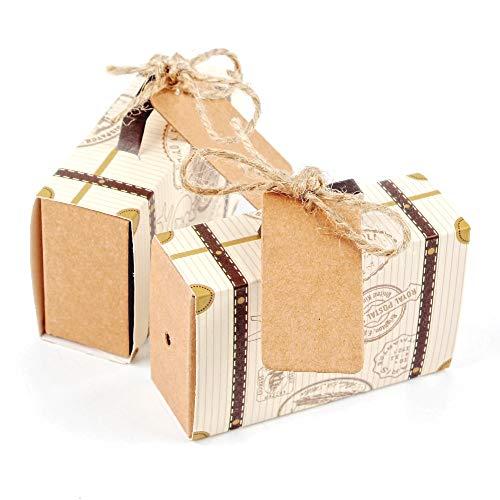 JZK® snoepgoed doos geschenkdoos gastgeschenk doopdoos snoepjes doos tafeldecoratie Favors Box voor bruiloft verjaardag party doop babyshower baby shower festival 50 x mini-kofferbak.