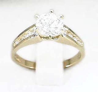 Cubic Zirconia Cubic Zirconia One Carat Center Engagement Ring - Ring Size Options Range: J to R