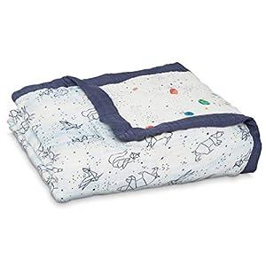 aden + anais Silky Soft Dream Blanket, 100% Viscose Bamboo Muslin Baby Blankets for Girls & Boys, Ideal Newborn Nursery & Crib Blanket, Unisex Toddler & Infant Boutique Bedding, Stargaze