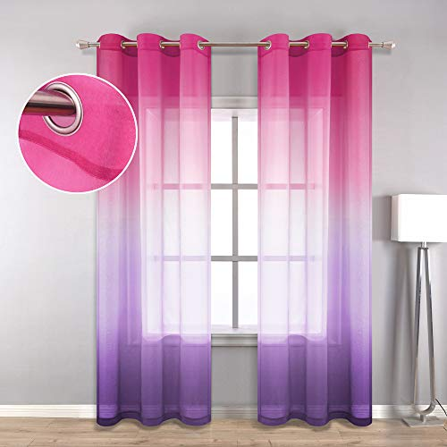 Bedroom Curtains 2 Panel Sets for Girls Room Decor Grommet Window Semi Transparent Rainbow Ombre Gradient Curtains Sheer for Kids Nursery Teen Princess Decorations Pink and Purple 42 x 84 inch Length