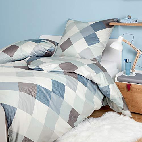 Janine Design Feinbiber Bettwäsche Davos 65100 perlblau 1 Bettbezug 135 x 200 cm + 1 Kissenbezug 80 x 80 cm