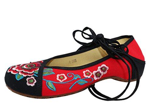 Icegrey Damesriempjes geborduurde bloemen enkelplatte schoenen