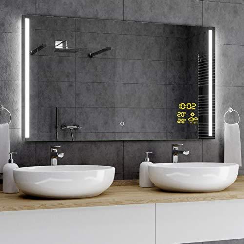 Alasta® Premium Badkamerspiegel met LED-Verlichting - 80x100 cm - Model París - Spiegel met Aanraaklichtschakelaar en Weerstation P1