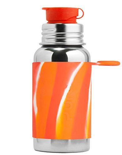 Pura 11 oz / 325 ml Stainless Steel Kids Sport Bottle with Silicone Sport Flip Cap & Sleeve (Plastic Free, Nontoxic Certified, BPA Free) (Orange Swirl)