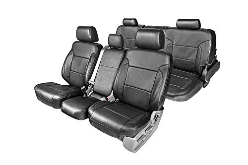 Clazzio 212012blkk Black Leather Front and Rear Row Seat Cover for Toyota Tacoma Double Cab, 1 Pack