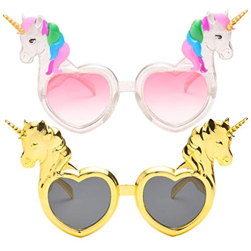 VALICLUD 2Pcs Mädchen Einhorn Sonnenbrille Herzform Party Brille Neuheit Party Spielzeug Lustige Bunte Kostüm Brille Zubehör für Kinder Erwachsene