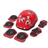 Niños De Protección Gear Set Equipo De Seguridad Casco Deportivo Ajustable Rodilla Niño Coderas Muñequeras para 7pcs Patinaje Rojas
