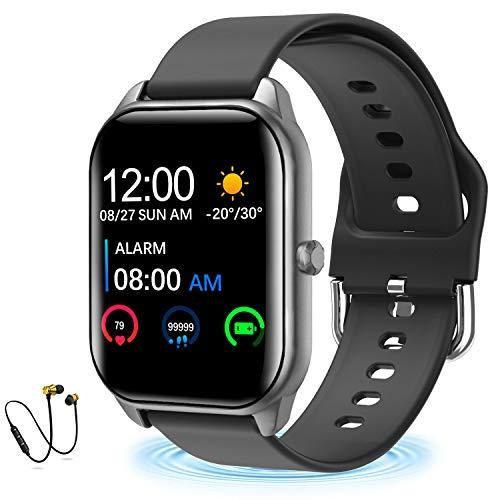 Smartwatch Offerta Del Giorno, IP68 Impermeabile DUODUOGO K10 Bluetooth Smartwatch Orologio Fitness Uomo Donna Bambini Compatibile Android iOS Tracker Attività Fitness Con Cardiofrequenzimetro (Nero+)