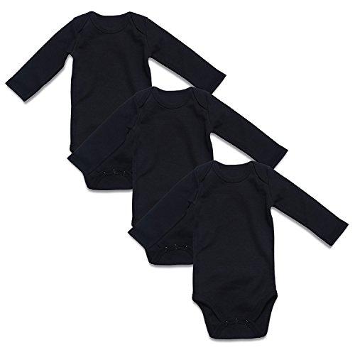 ROMPERINBOX Solid Black Long Sleeve Baby Bodysuits 3 Pack (6-9M, Black L 3 Pack)